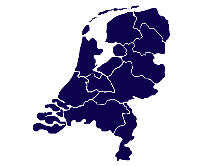 Over ons: Landkaart Nederland - MVD Koeriers voor uw transportdiensten